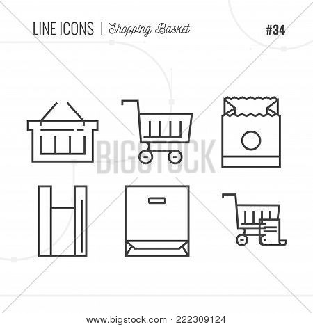 Line Icons Set of E-commerce Shopping Carts and Baskets objects. Shopping Bags and Merchandise Boxes icons. Logo icons vector illustration