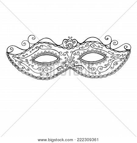 Decorative festive mask of Mddi Gras, coloring page for children and adults, doodle style. Vector hand drawing black and white mask holiday background.