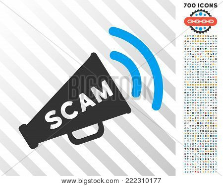 Scam Alert Megaphone icon with 700 bonus bitcoin mining and blockchain pictures. Vector illustration style is flat iconic symbols designed for bitcoin apps.