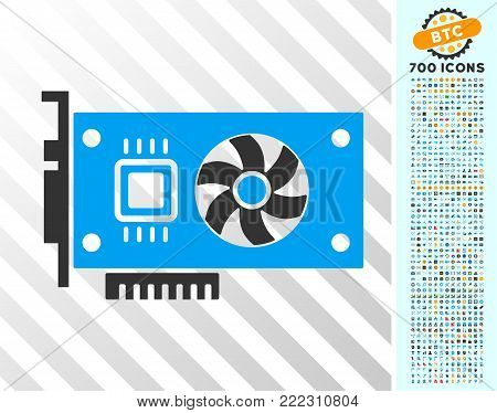 Video Accelerator Card icon with 700 bonus bitcoin mining and blockchain design elements. Vector illustration style is flat iconic symbols designed for cryptocurrency websites.
