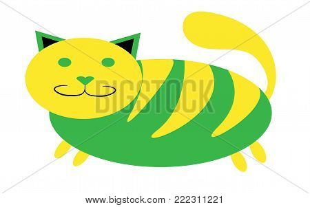 Greenish-yellow thick, tabby cat with short paws and a large snout with ears protruding upwards on a white background. Vector illustration.
