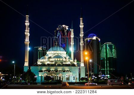 Russia. Chechen Republic. Grozny city at night. Heart of Chechnya. September 1 2017