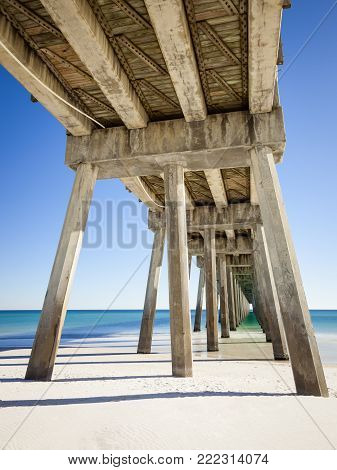 Pensacola Beach Pier is located on Casino Beach. The pier is 1,471 feet long, and boasts some of the best fishing in the area. The pier has concrete pillars for added support and stability.