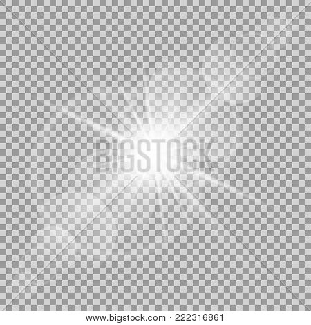 Vector transparent sun flash with rays and spotligh. Sunlight special lens flare light effect. Abstract texture for your design and business.