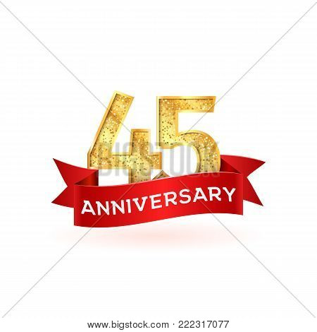 Forty-five anniversary luxury logo template with red ribbon. Isolated golden 55th birthday numbers vector illustration