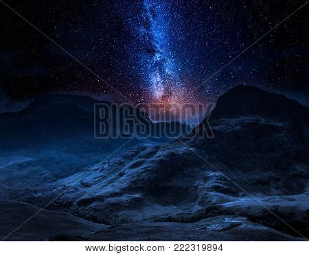 Milky way and mountains in Scotland in the Glencoe