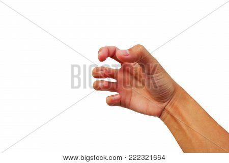 Gesture Of Hand Has Tense On White Background.