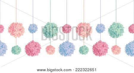 Vector Set of Hanging Pastel Colorful Birthday Party Paper Pom Poms Set Horizontal Seamless Repeat Border Pattern. Great for handmade cards, invitations, wallpaper, packaging, nursery designs. Party decor.