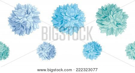 Vector Set of Blue Baby Boy Birthday Party Paper Pom Poms Set Horizontal Seamless Repeat Border Pattern. Great for handmade cards, invitations, wallpaper, packaging, nursery designs. Party decor.