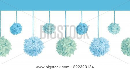 Vector Set of Hanging Blue Bay Boy Birthday Party Paper Pom Poms Set Horizontal Seamless Repeat Border Pattern. Great for handmade cards, invitations. Party decor.