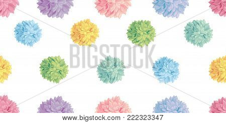 Vector Cute Pastel Colorful Birthday Party Paper Pom Poms Set Horizontal Seamless Repeat Border Pattern. Great for handmade cards, invitations. Party decor.