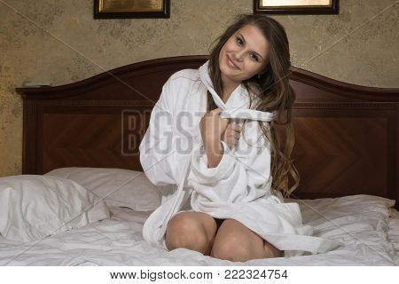 Sexual Emotional Attractive Woman Posing In A Bedroom