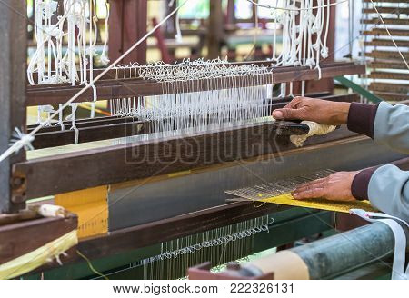 Weave Silk Cotton On The Manual Wood Loom