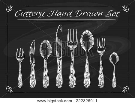 Fork spoon knife on chalkboard. Dinnerware cutlery vintage chalk drawing vector sketch