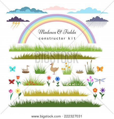 Fields constructor. Meadows and fields elements kit for cartoon landscape constructor with vector grass and flowers, ducks and a rainbow