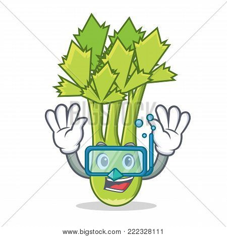 Diving celery character cartoon style vector illustration