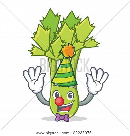 Clown celery mascot cartoon style vector illustration