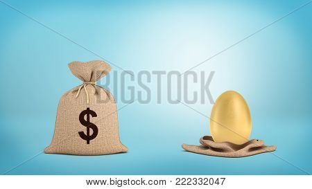 3d rendering of a tied-up brown sack with a dollar sign near an open sack with a large golden egg. Business risk. Pig in poke. Money bag.