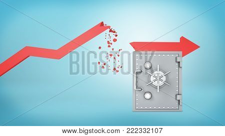 3d rendering of a red statistic arrow with a broken pointer that has fallen to rest on a large metal safe box. Crisis budget. Prepared for trouble. Down times strategy.