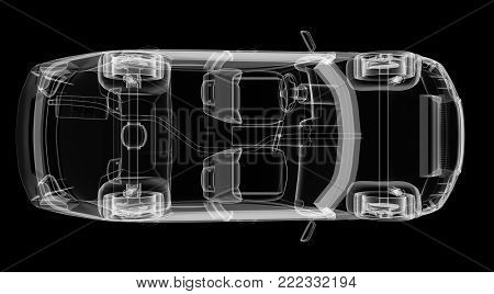 3d rendering of a brandless generic car. 3d illustration