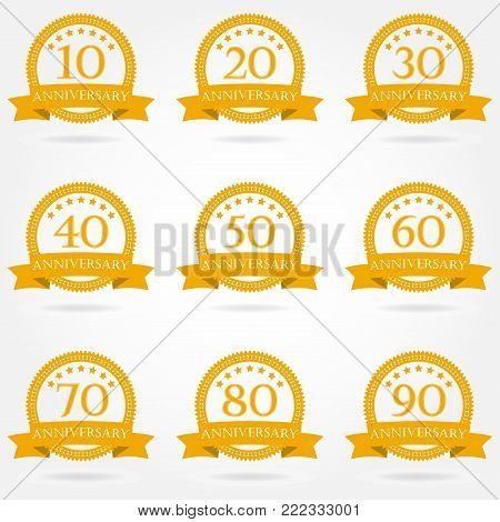 Anniversary icon set. Emblems and stamps with ribbon. 10,20,30,40,50,60,70,80,90 years design elements. Vector illustration.
