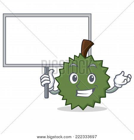 Bring board Durian character cartoon style vector illustration