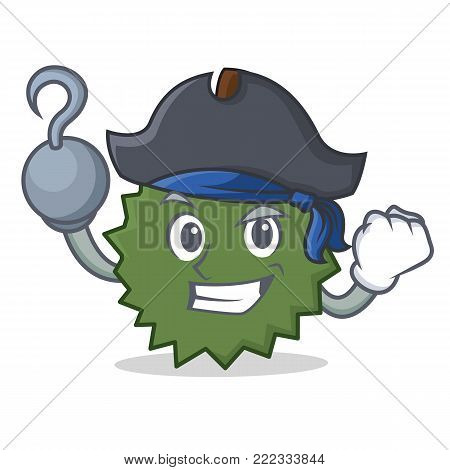 Pirate Durian character cartoon style vector illustration