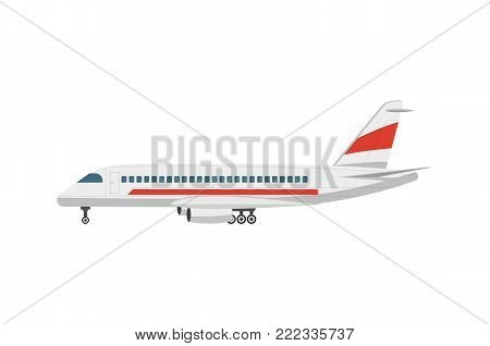 Side view jet airplane isolated vector icon. Passenger aircraft, aviation terminal logistics, commercial airline vector illustration.