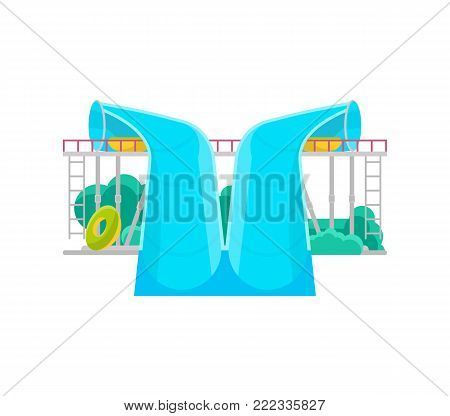 Aqua park water slide icon. Outdoor family beach vacation, children water attractions vector illustration. Wonderful summertime, funny relax and activity.