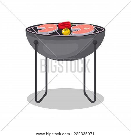Charcoal barbecue grill with grilled fish steak isolated icon. BBQ party, outdoor cooking equipment, restaurant menu element vector illustration.