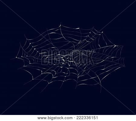 Arachnid cobweb isolated icon on dark background. Abstract design element for halloween holiday banners decoration, web silhouette vector illustration.