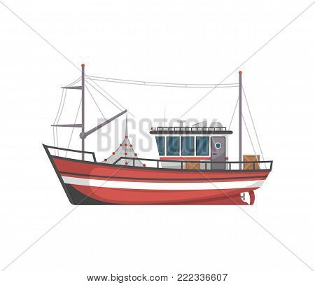 Vintage fishing boat side view isolated icon. Sea or ocean transportation, marine ship for industrial seafood production vector illustration in flat style.