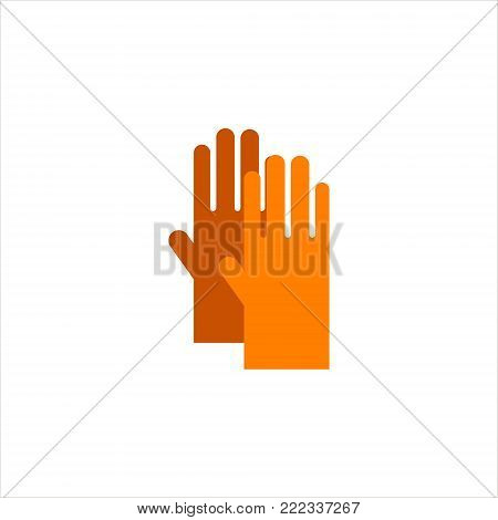Gardening flat yellow gloves for work isolated on white background vector illustration. Farming hand protection, gloves safety.
