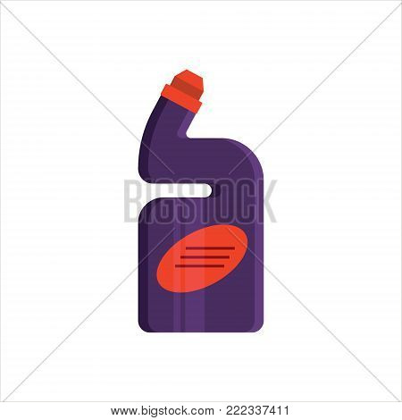 Purple plastic bottle isolated on white background. Cleaning service logo, laundry detergent and disinfectant products, cleaner for toilet, bath, kitchen - flat vector illustration.
