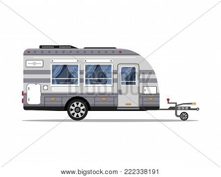 Car RV trailer isolated icon. Mobile home for country and nature vacation. Side view recreational vehicle van vector illustration in flat syle.