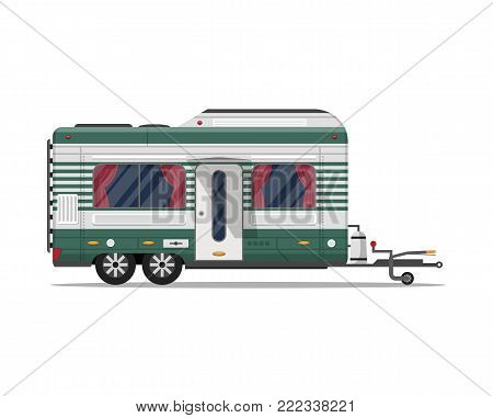Camping trailer caravan isolated icon. Mobile home for country and nature vacation. Side view recreational vehicle van vector illustration in flat syle.