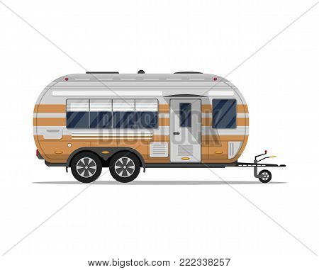 Big modern travel trailer isolated icon. Mobile home for country and nature vacation. Side view recreational vehicle van vector illustration in flat syle.