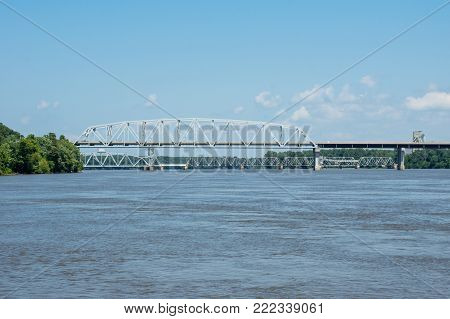 A bridge crossing the mighty Mississippi River at Hannibal.