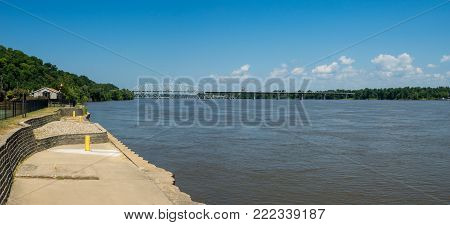 A panorama of the mighty Mississippi River at Hannibal Missouri.