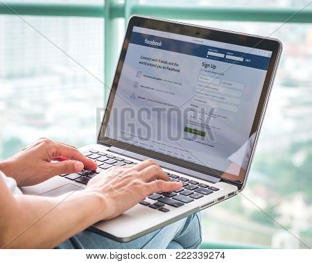 Bangkok, Thailand - JANUARY 29, 2018: Facebook social network on pc laptop with user sign up or log in registration screen.