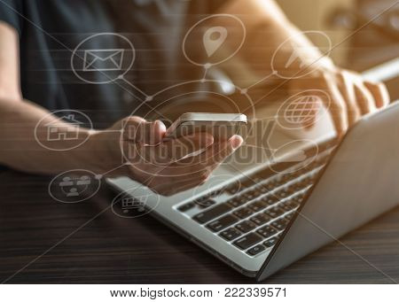 SEO, Internet marketing e-commerce, online banking payment, and VOIP voice over internet protocol technology on mobile smart phone device app via digital computer communication service security