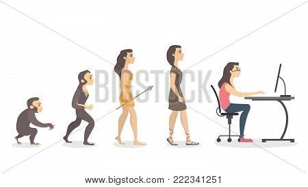 Evolution of programmer. From monkey to computer woman.