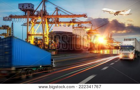 Logistics and transportation of Container Cargo ship and Cargo plane with working crane bridge in shipyard at sunrise, logistic import export and transport industry background, Truck transport container on the road to the port