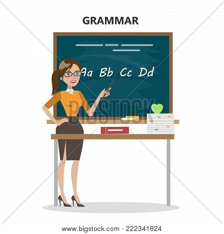 Isolated grammar teacher with blackboard and letters.
