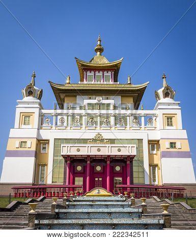 ELISTA, RUSSIA - JULE 25, 2017: Buddhist temple: