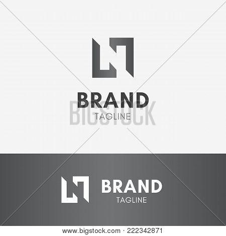 Letter N Negative Space Logo template element symbol in black color