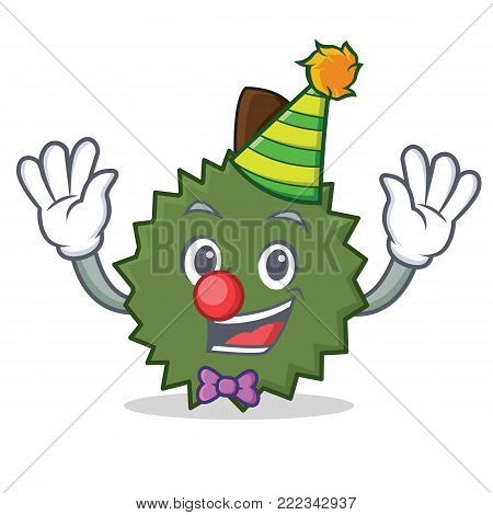 Clown Durian mascot cartoon style vector illustration