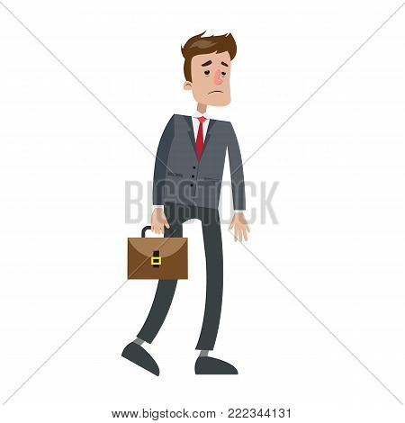 Tired businessman walking with briefcase on white.
