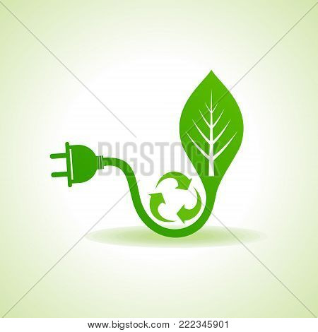 Eco Energy Concept with leaf,plug and recycle icon stock vector