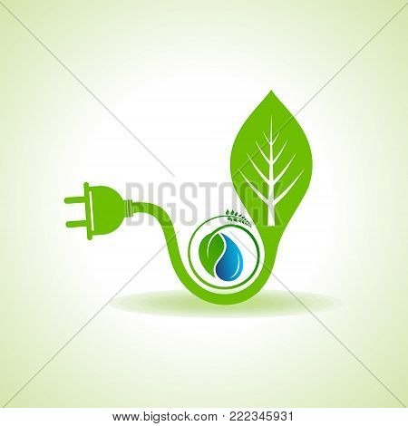 Eco Energy Concept with leaf,plug and water drop stock vector
